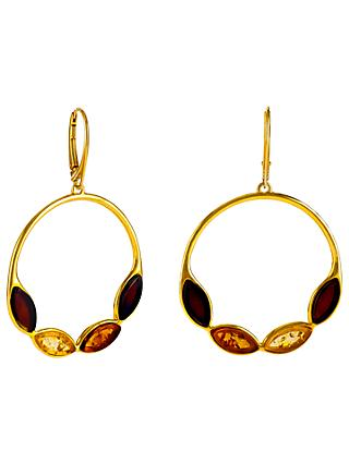 Be-Jewelled Marquise Amber Round Drop Earrings, Gold/Multi