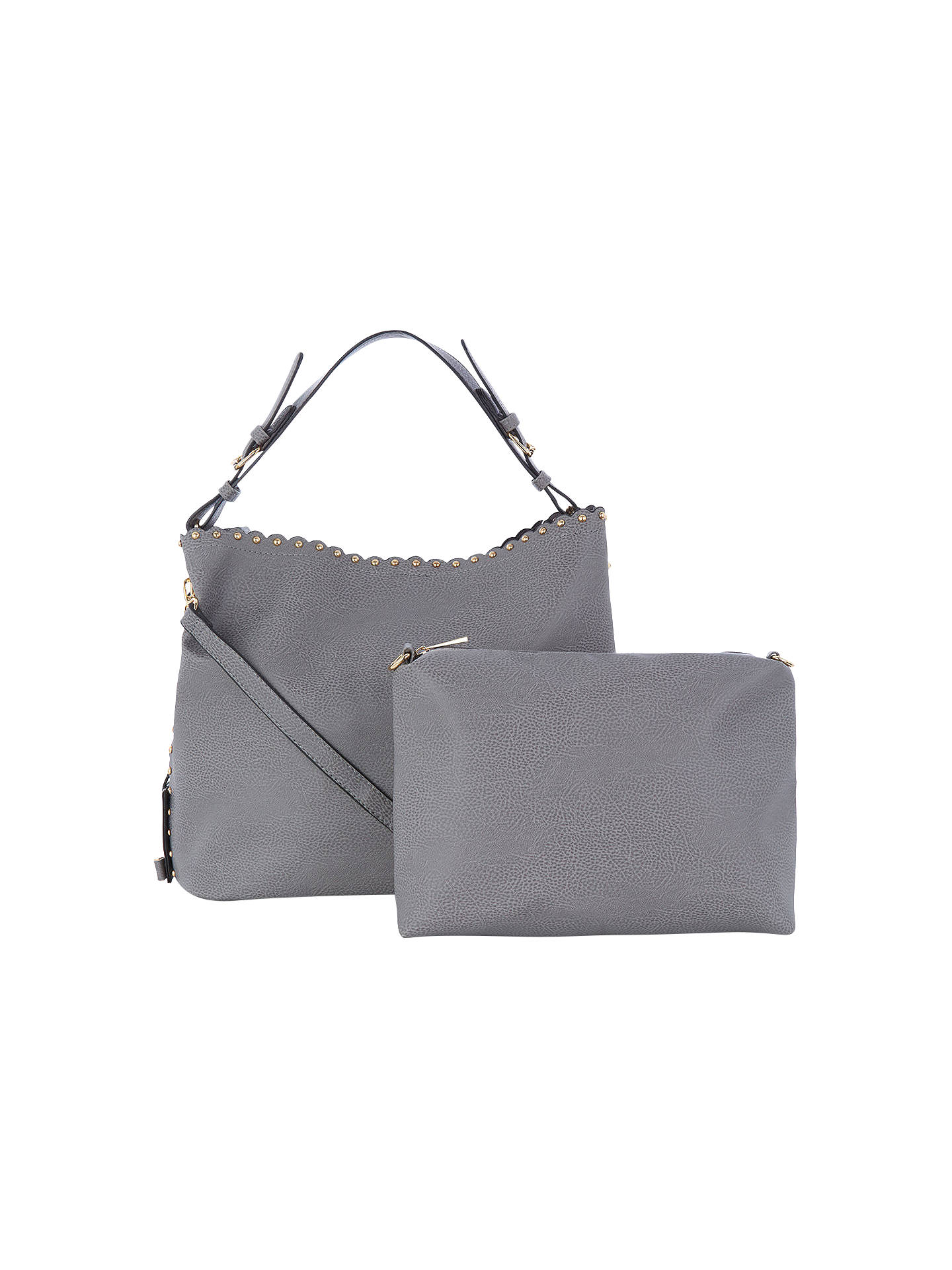 c2aab754b1cb ... Buy Oasis Skylar Scalloped Hobo Bag, Mid Grey Online at johnlewis.com  ...