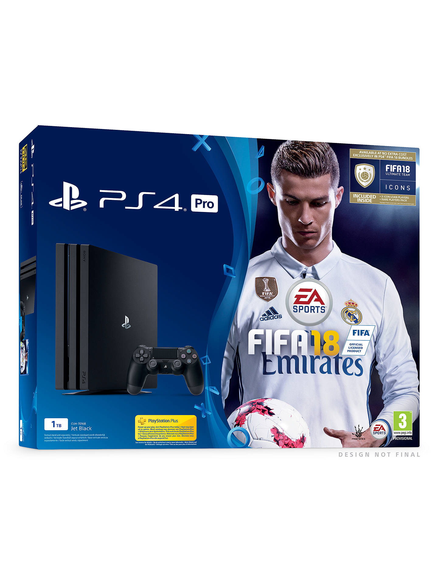 BuySony PlayStation 4 Pro Console, 1TB, Jet Black, with DualShock 4 Controller and FIFA 18 Online at johnlewis.com