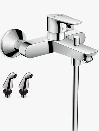 Hansgrohe Talis E Single Lever Bath/Shower Mixer Tap with 2 Pillar Unions, Chrome