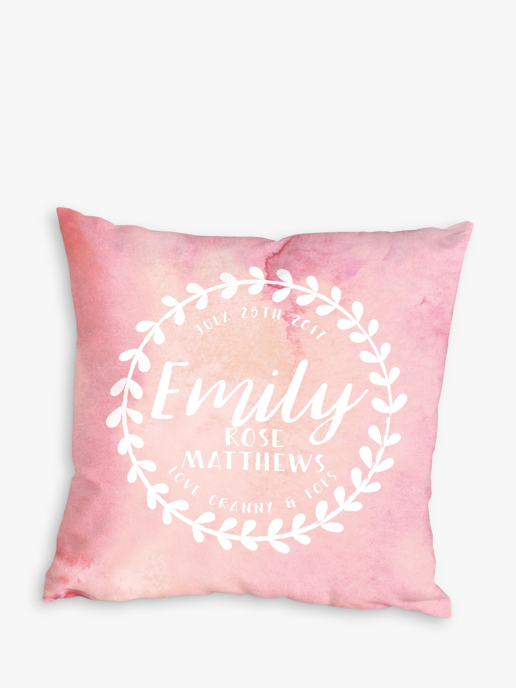 Letterfest Letterfest Personalised Baby Wreath Cushion