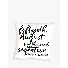 Buy Letterfest Personalised Special Date Cushion Online at johnlewis.com