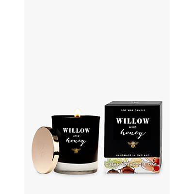 Willow and Honey Cuban Tobacco and Oak Wood Wick Scented Candle, Black, 220g