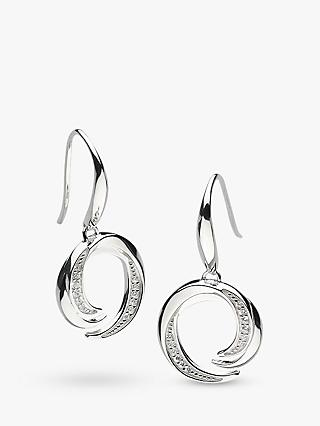 Kit Heath Twist Cubic Zirconia Drop Earrings, Silver