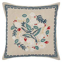 Buy John Lewis Folklore Bird Cushion, Natural Online at johnlewis.com