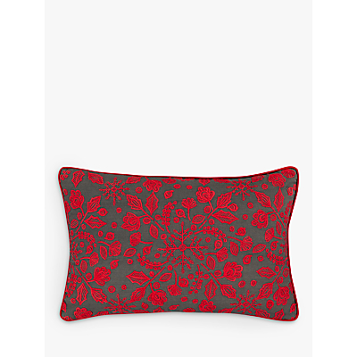 John Lewis Folklore Snowflake Embroidered Cushion, Red