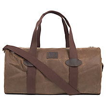 Buy Barbour Defender Waxed Cotton Holdall, Dark Sand Online at johnlewis.com