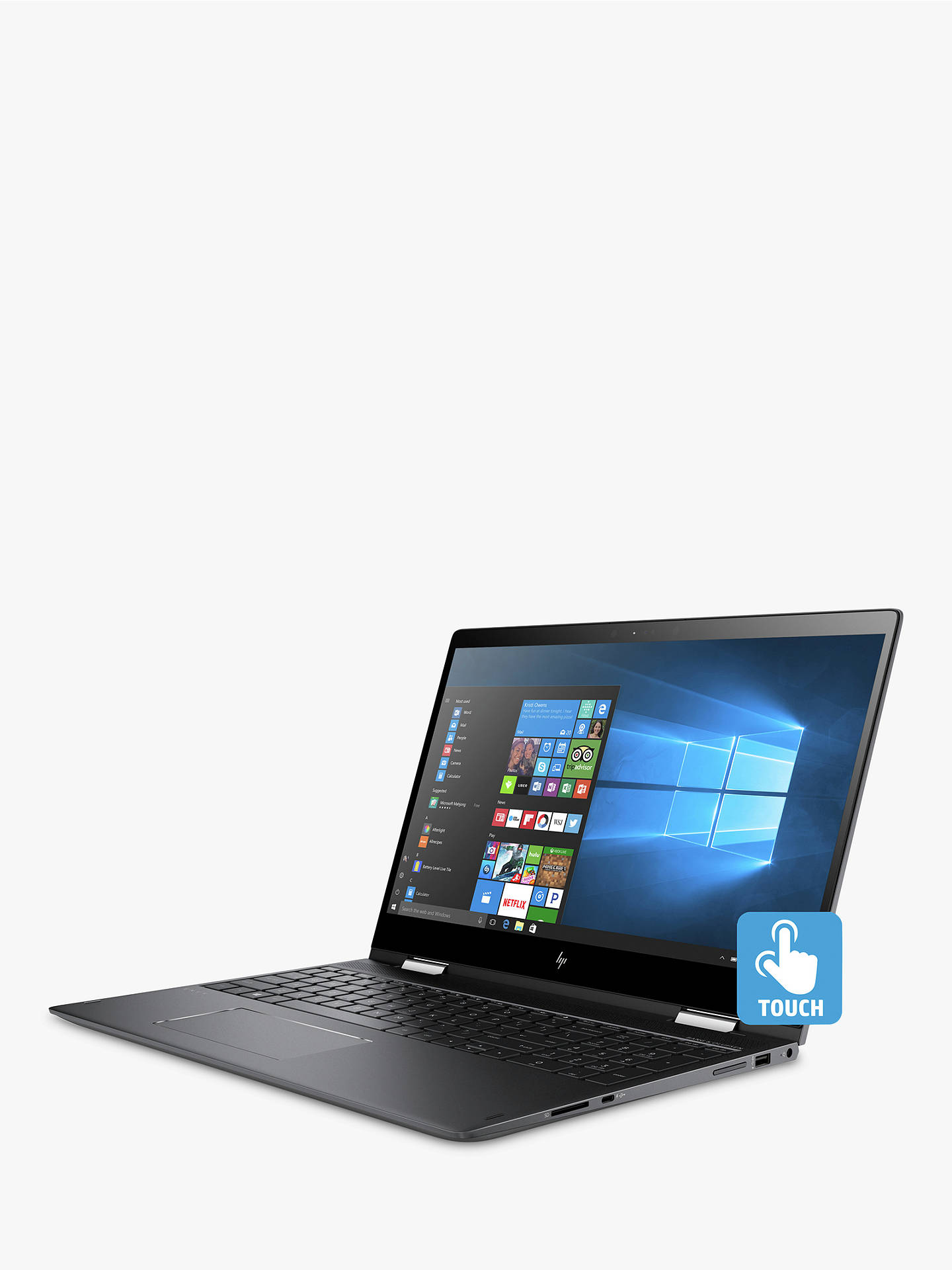 """HP ENVY x360 15-bq101na Laptop, AMD Ryzen 5, 8GB, 256GB M 2 SSD, 15 6"""",  Dark Ash Silver"""