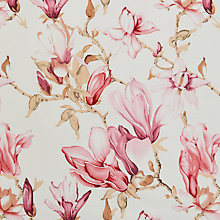 Buy Viscount Textiles Large Lily Print Fabric, White/Pink Online at johnlewis.com