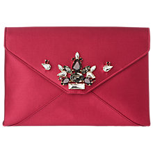 Buy L.K.Bennett Embellished Alena Satin Clutch Bag, Raspberry Online at johnlewis.com