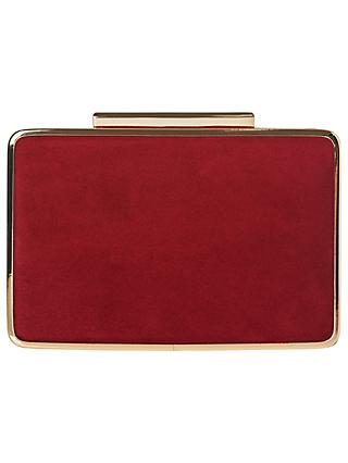 L K Bennett Nina Suede Box Clutch Bag Poppy
