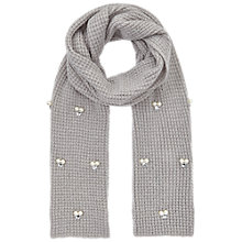Buy Miss Selfridge Embellished Knitted Scarf, Grey Online at johnlewis.com