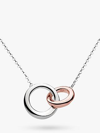 Kit Heath Bevel Curve Interlink Ring Pendant Necklace, Silver/Rose Gold