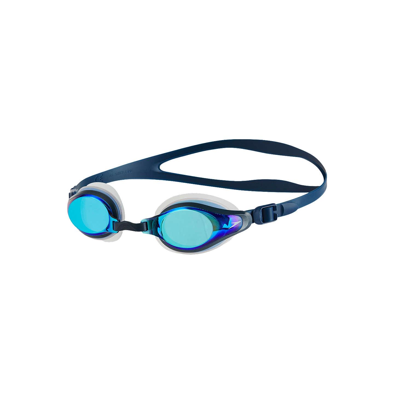 Speedo Mariner Supreme Mirror Goggles, Clear/Navy/Blue Mirror at ...