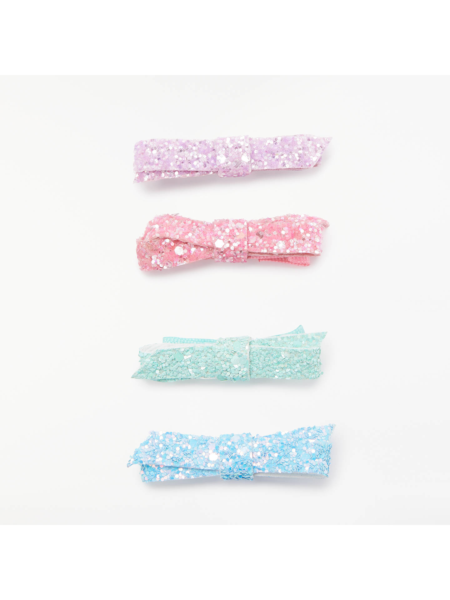 Buy John Lewis & Partners Girls' Glitter Bow Clips, Pack of 4 Online at johnlewis.com