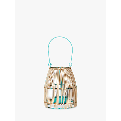 John Lewis Poolside Cane Weave Small Candle Holder, Turquoise/Natural