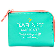 Buy Happy Jackson 'Note To Self' Travel Purse, Turquoise Online at johnlewis.com
