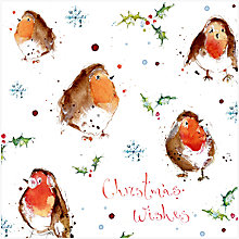 Buy Louise Mulgrew Robin Pattern Christmas Card Online at johnlewis.com
