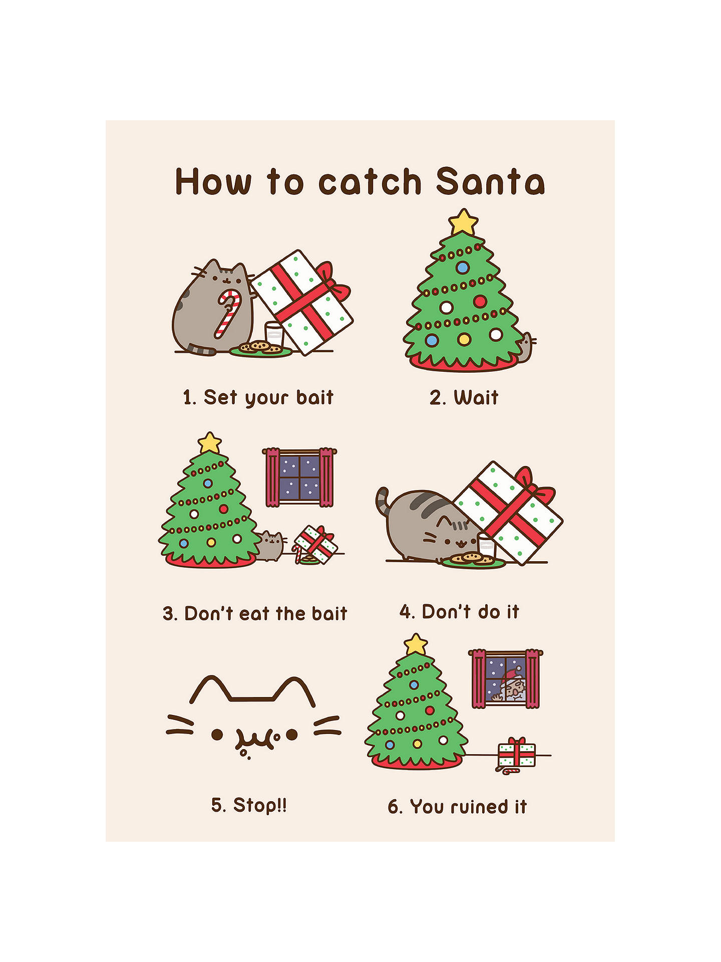 Pusheen Christmas.Hype Pusheen Christmas Catch Santa Card At John Lewis Partners