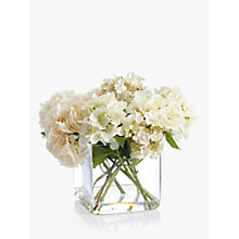 Buy Peony Artificial Hydrangea In Glass Cube, Large Online at johnlewis.com