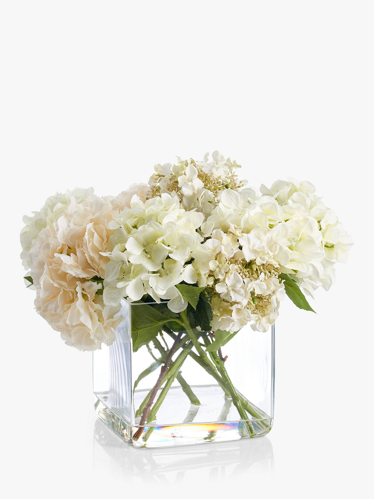 Buy Peony Artificial Hydrangea In Glass Cube, Large, White Online at johnlewis.com