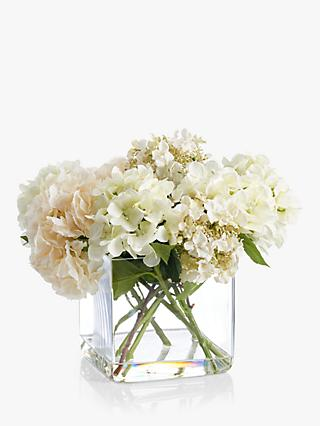 Artificial flowers plants silk flowers table centrepieces john peony artificial hydrangea in glass cube large mightylinksfo