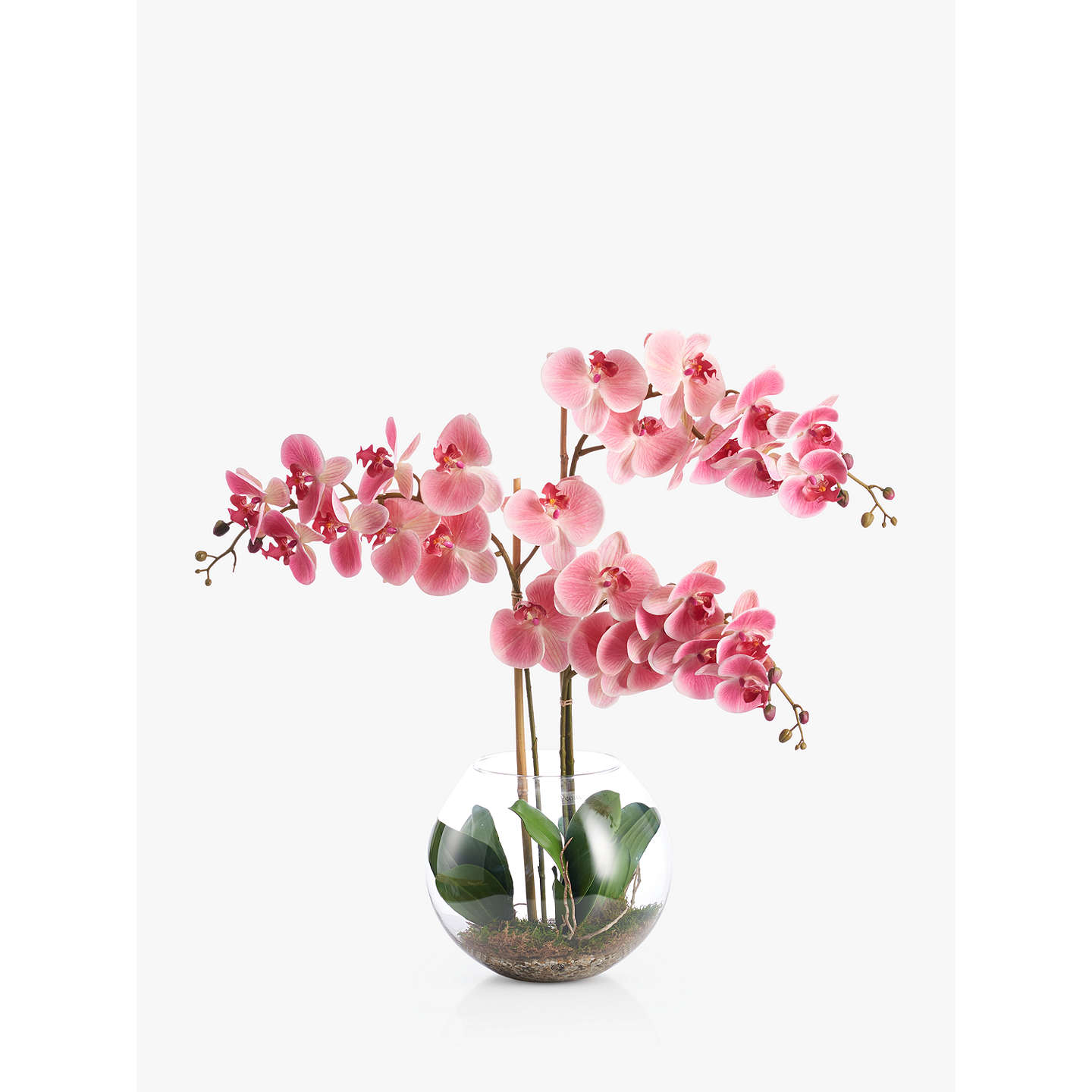 Peony Artificial Orchid In Fishbowl With Gravel, Large, Pink by Peony