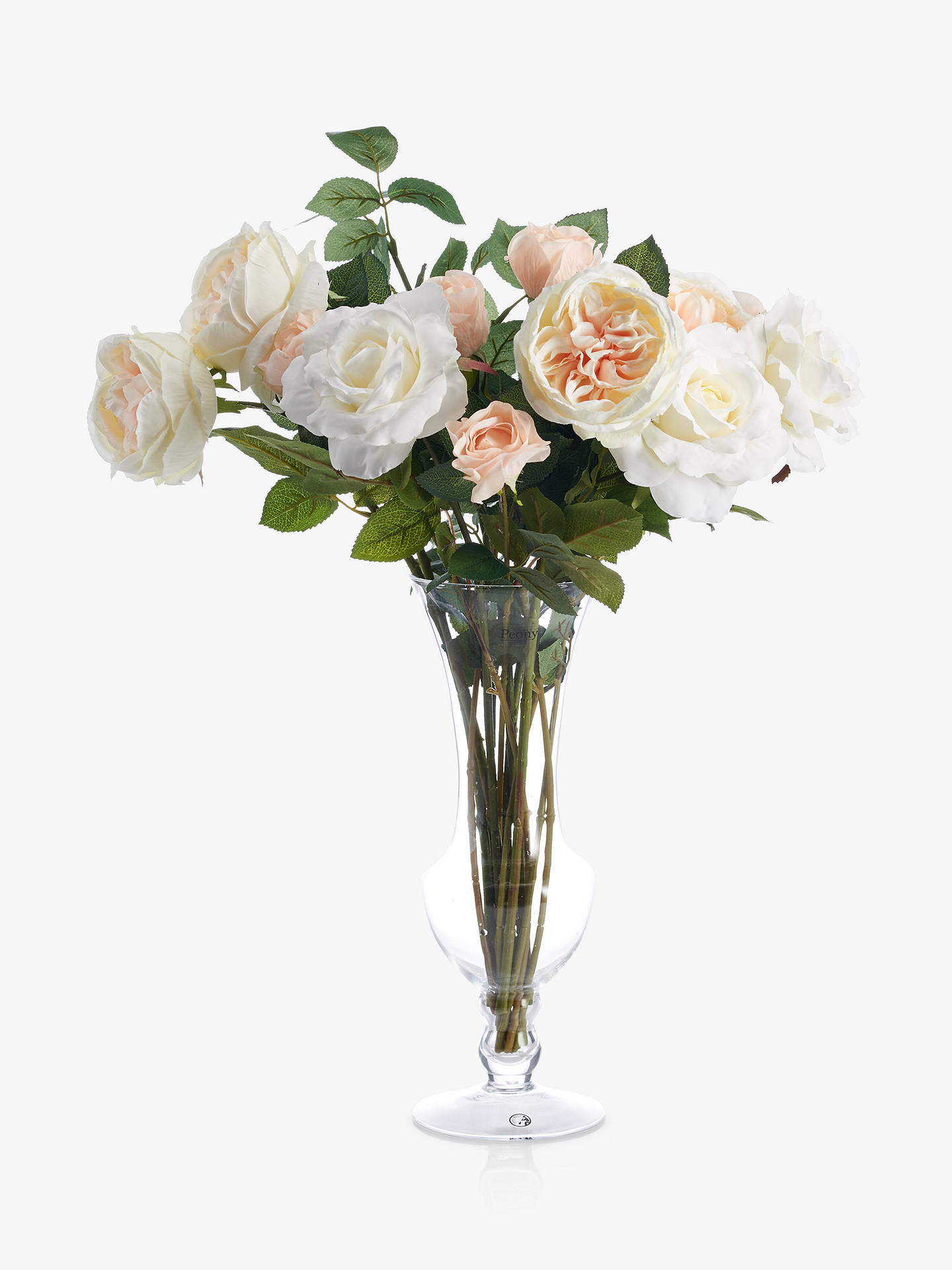 Peony Artificial Rose In Waisted Glass Vase At John Lewis Partners