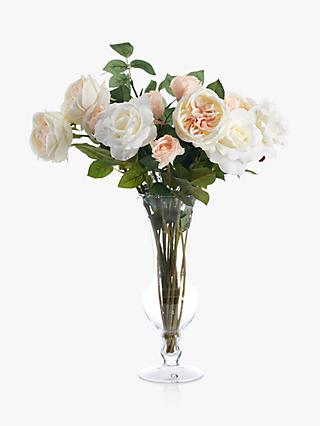 Peony Artificial Rose In Waisted Gl Vase