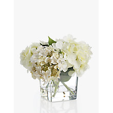Buy Peony Artificial Hydrangea In Glass Cube, Small Online at johnlewis.com