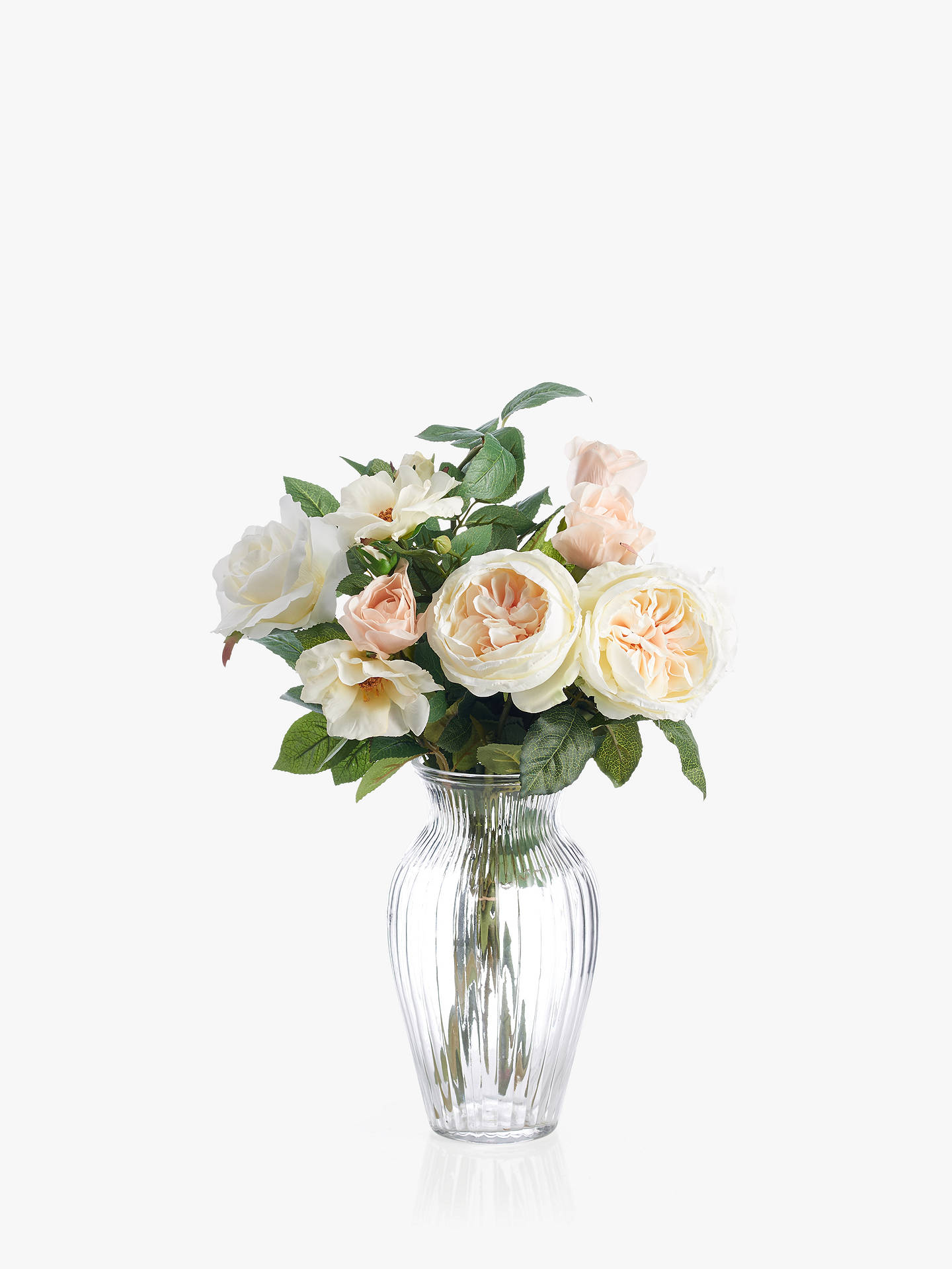 259 & Peony Artificial Rose in Small Waisted Glass Vase White