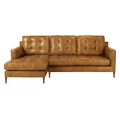John Lewis Draper Leather LHF Chaise End Sofa, Dark Leg