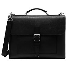 Buy Mulberry Chiltern Small Natural Grain Leather Briefcase, Black Online at johnlewis.com