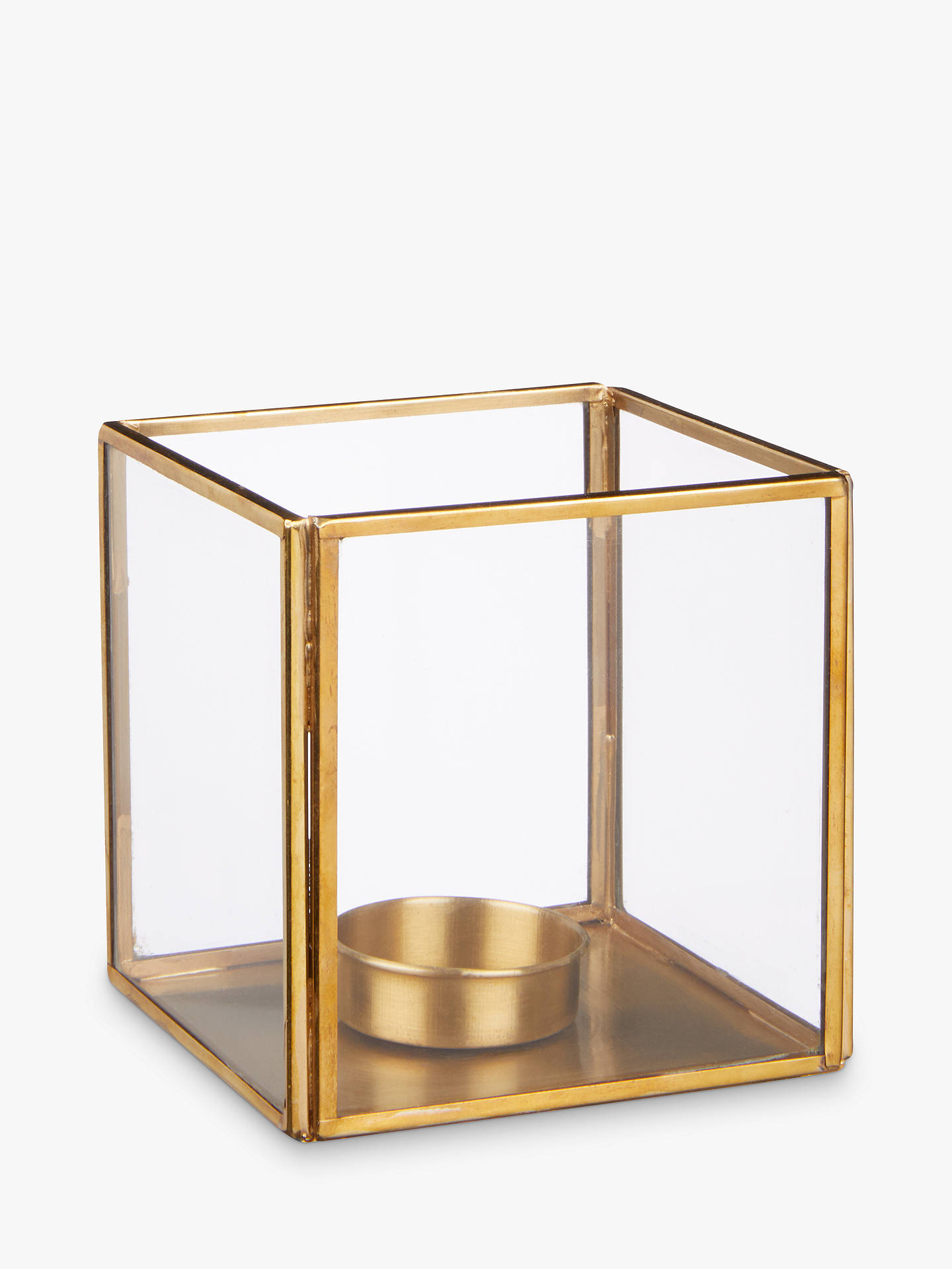 BuyJohn Lewis & Partners Cube Candle Holder, Brass Online at johnlewis.com