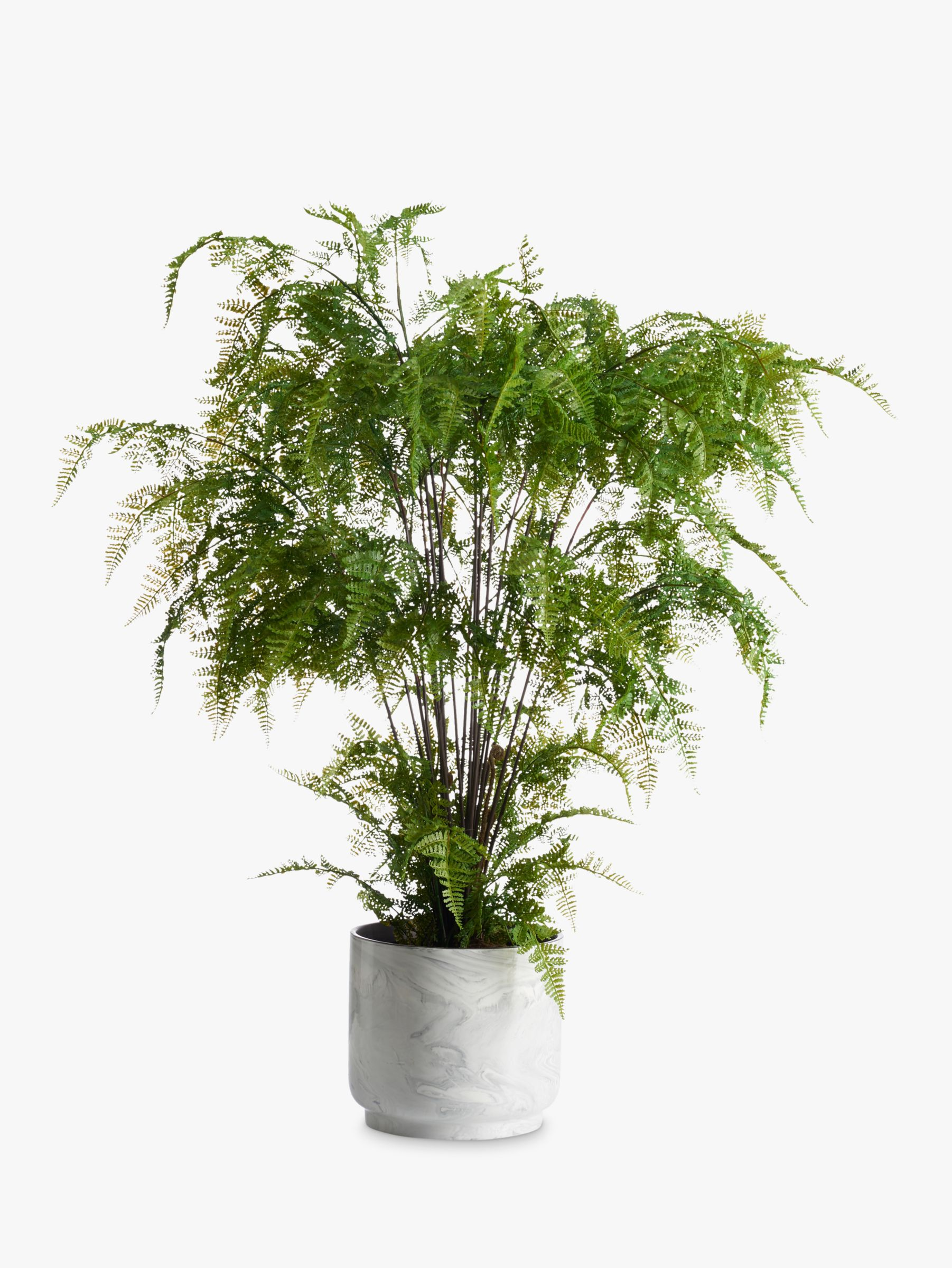 Peony Peony Artificial Ferns in Marble Pot
