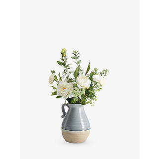 Artificial flowers plants silk flowers table centrepieces john peony white wild mix in blue jug exclusive to john lewis mightylinksfo