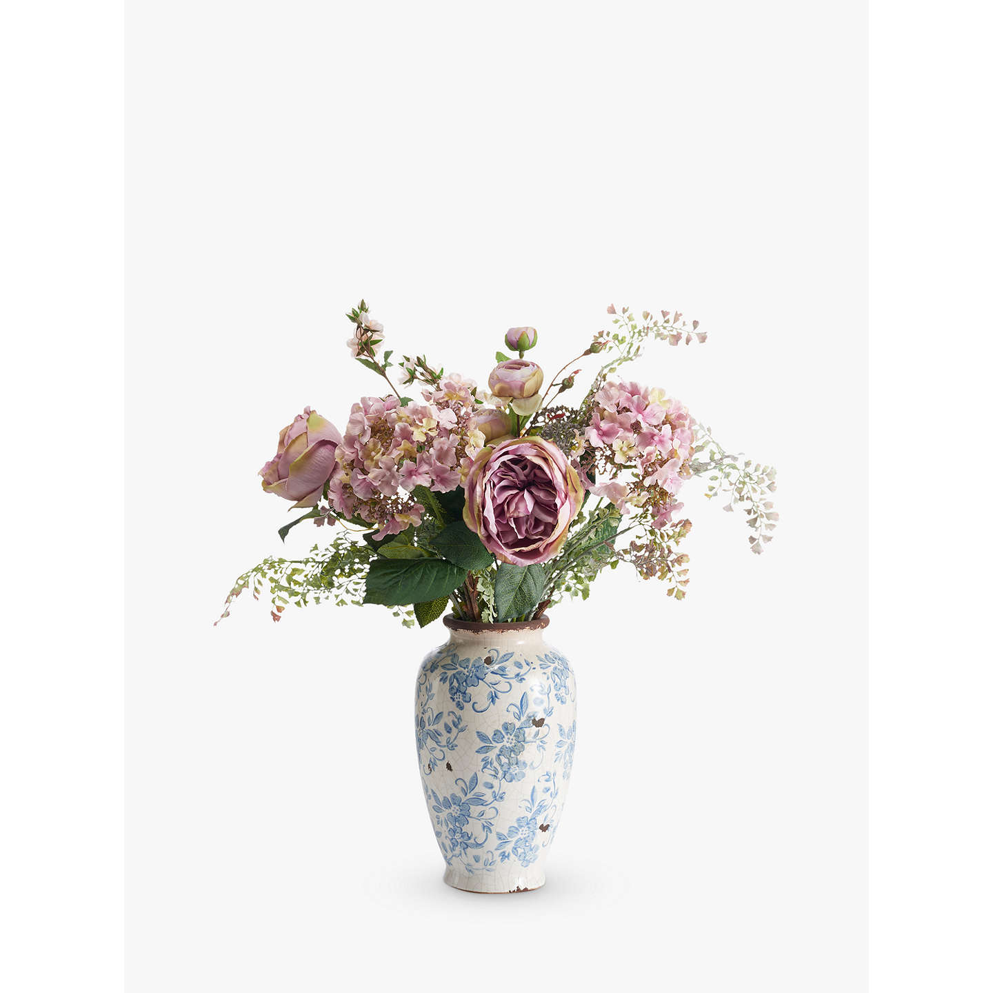 John Lewis Flowers Peony artificial roses in vintage floral pot lilac at john lewis buypeony artificial roses in vintage floral pot lilac online at johnlewis sisterspd