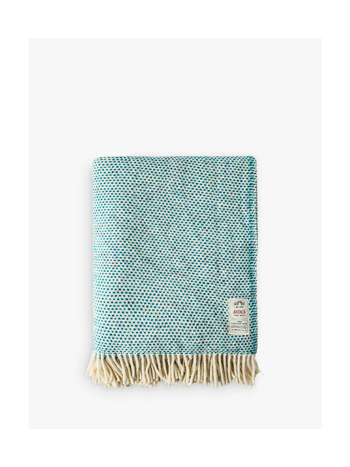 BuyAvoca Heavy Herringbone Throw, Turquoise Fleck Online at johnlewis.com