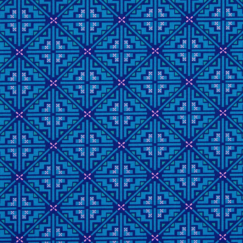 Freespirit Pathway Print Fabric Indigo at John Lewis