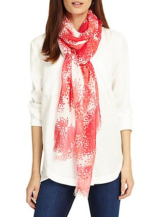 Phase Eight Delphine Smudged Scarf, Ivory/Red