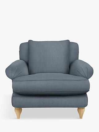 Croft Collection Findon Armchair, Oak Leg, Beaulieu Lake Blue