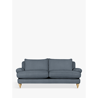 Croft Collection Findon Large 3 Seater Sofa, Oak Leg, Beaulieu Lake Blue