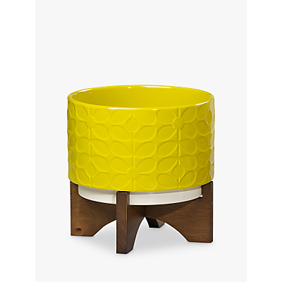 Orla Kiely Ceramic Pot with Wooden Stand, Sixties Stem Ochre