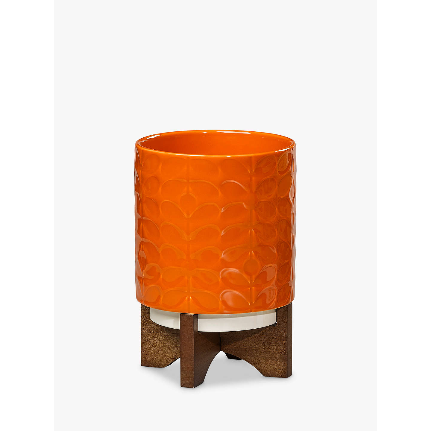 Buyorla Kiely Ceramic Pot With Wooden Stand, Dark Papaya Online