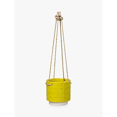 Orla Kiely Small Ceramic Hanging Pot, Yellow