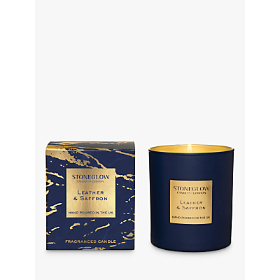 Stoneglow Luna Leather & Saffron Candle