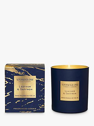 Stoneglow Luna Leather & Saffron Scented Candle