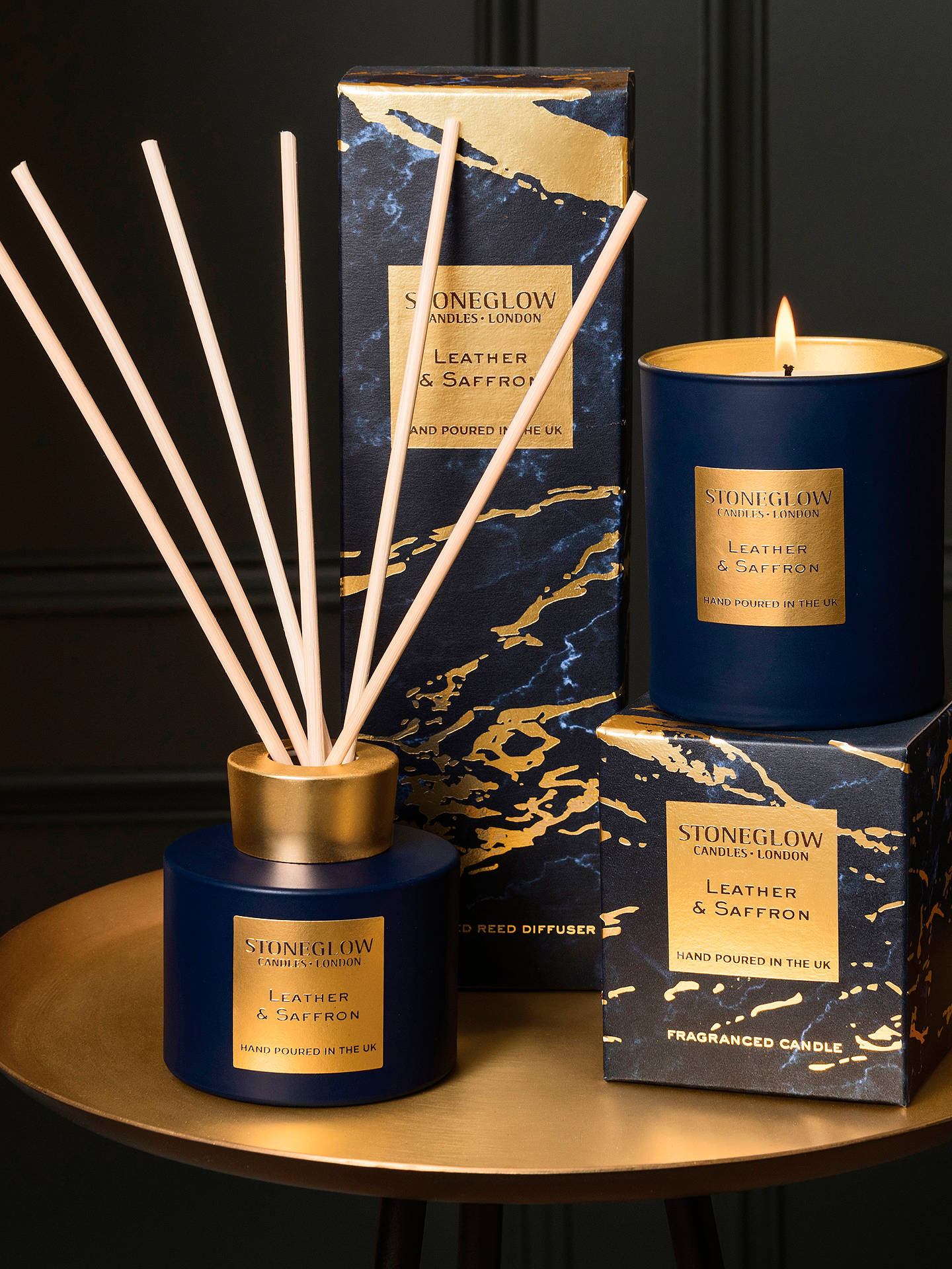Buy Stoneglow Luna Leather & Saffron Scented Candle Online at johnlewis.com