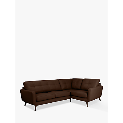 John Lewis & Partners Barbican Leather RHF Corner End Sofa, Dark Leg