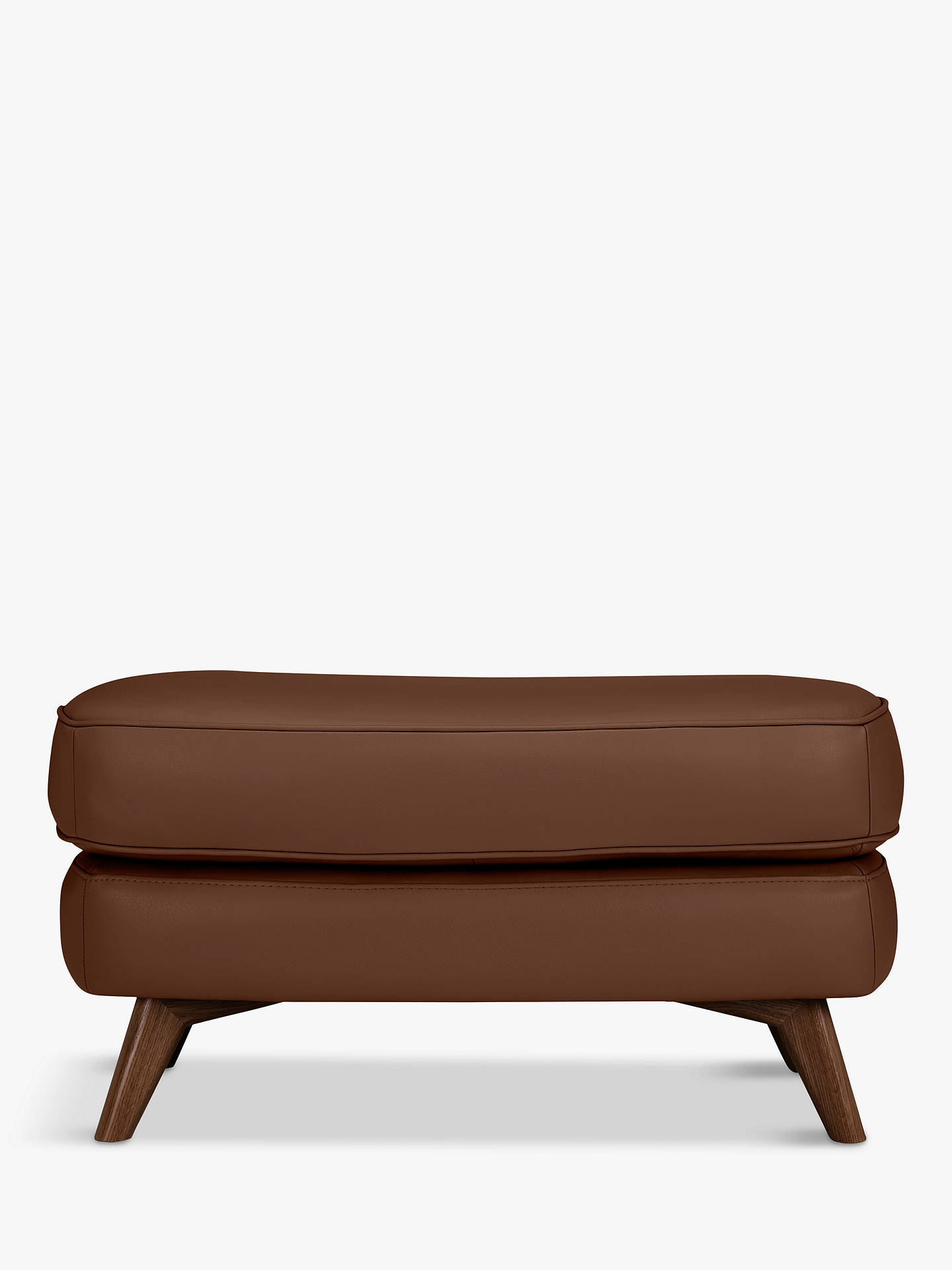 BuyJohn Lewis & Partners Barbican Leather Footstool, Dark Leg, Contempo Castanga Online at johnlewis.com
